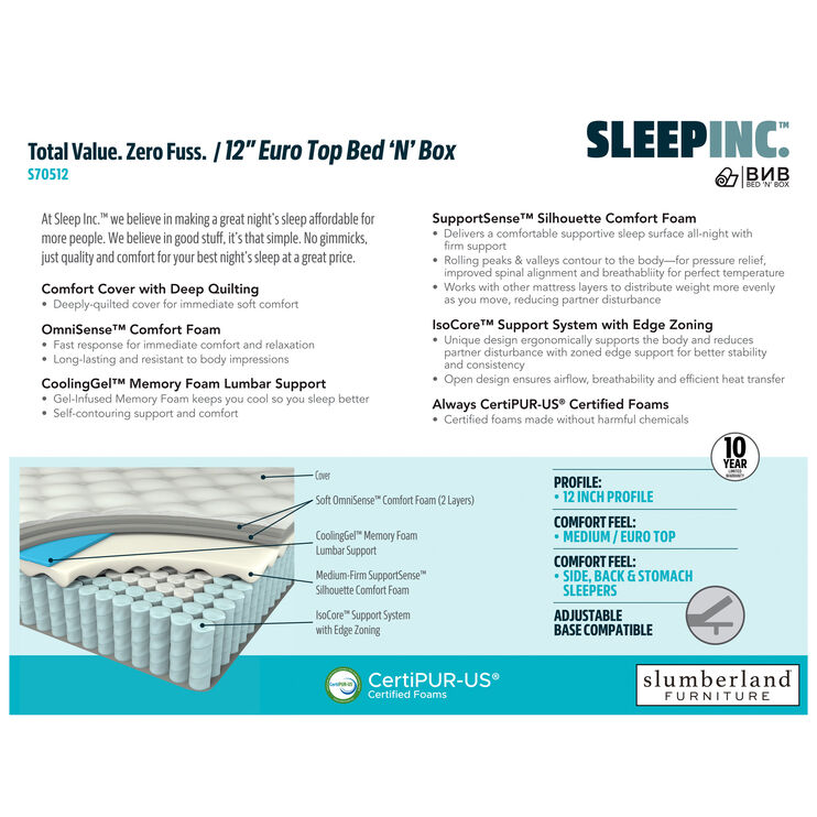 Sleep Inc 12 Inch Eurotop Queen Mattress in a Box