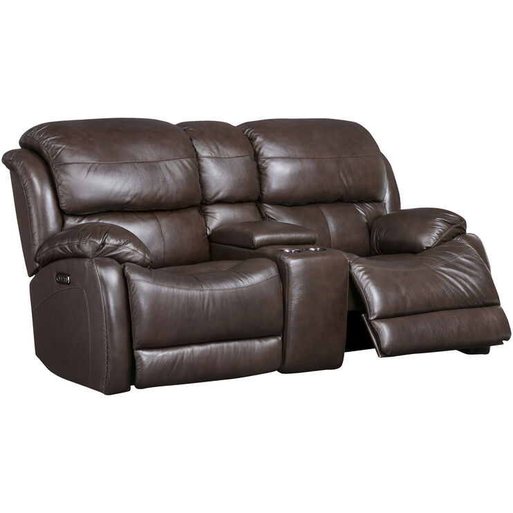 Palmer Brown Power Reclining Console Loveseat