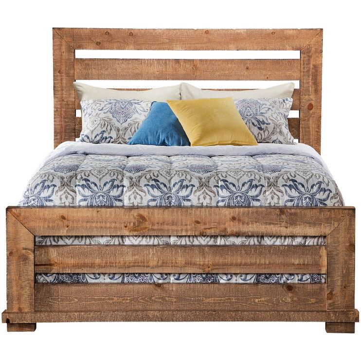 Willow Distressed Pine California King Slat Bed