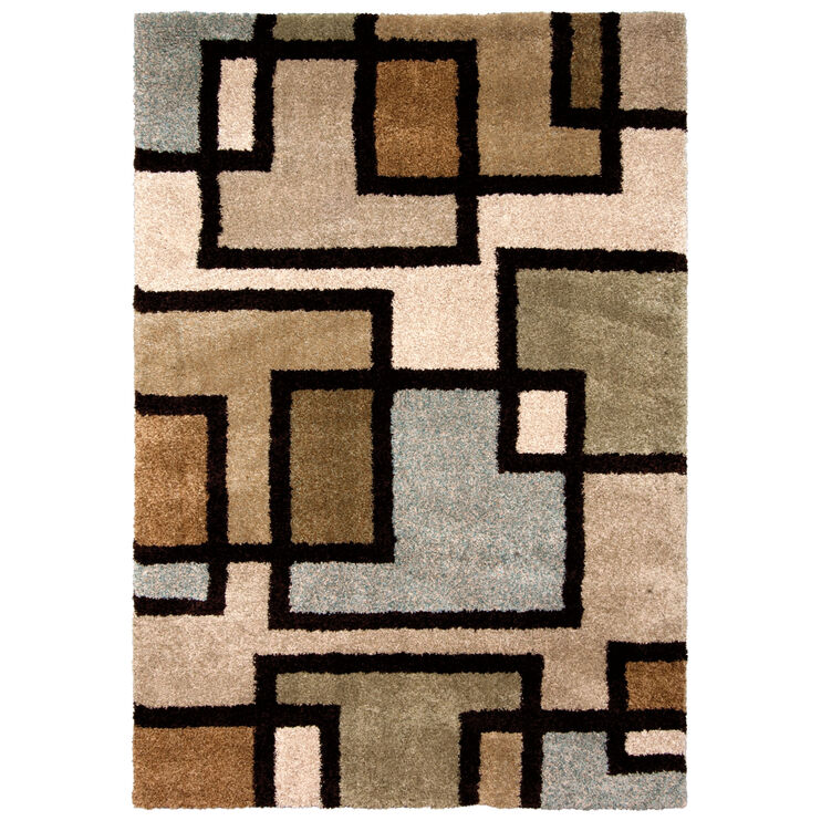 Wild Weave Huffing Tan and Blue Blocks  5 x 8 Rug