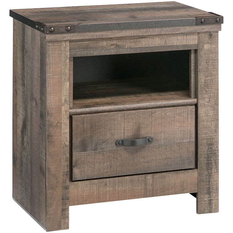Trinell Rustic Plank Nightstand