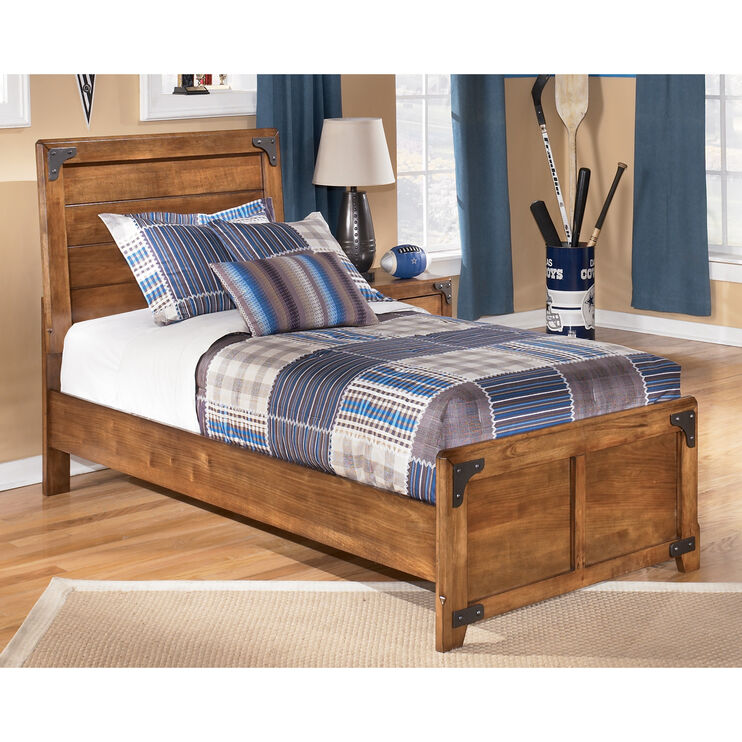 Delburne Brown Twin Panel Bed