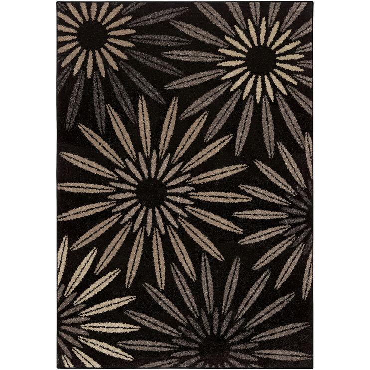 Heritage Halley Charcoal Black Bursts 5 x 8 Rug