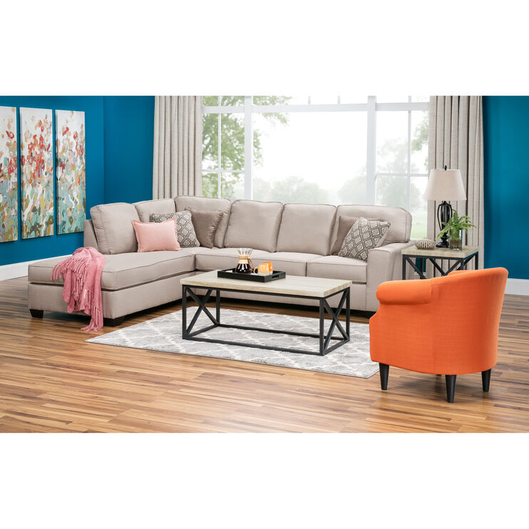Wales 2pc Ecru Left Chaise Sectional