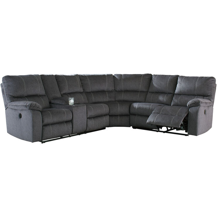 Bedford Charcoal 3 Piece Power Reclining Console Loveseat Sectional