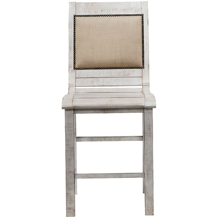 Willow Distressed White Counter Chair