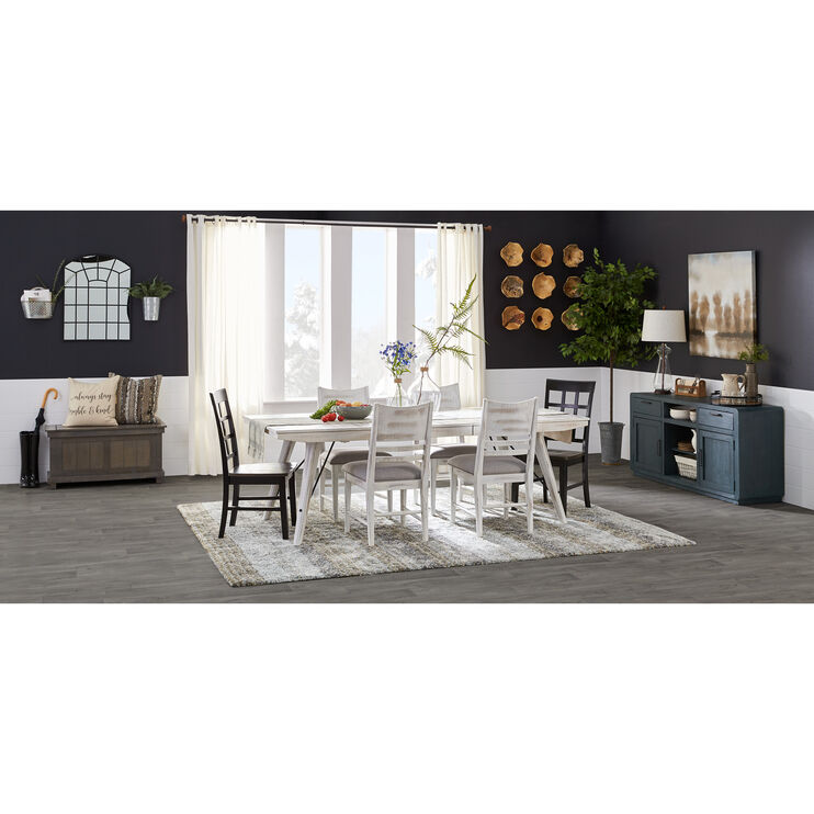 Modern Rustic Weathered White 5 Piece Dining Set