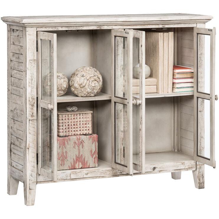 Rustic Shores Antique White 4 Door Cabinet