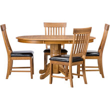 Jefferson Chestnut 5 Piece Slat Back Pedestal Set
