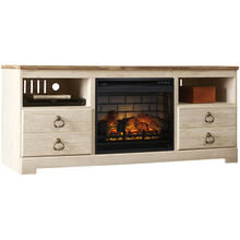 Willowton White 64 Inch Infrared Fireplace TV Stand