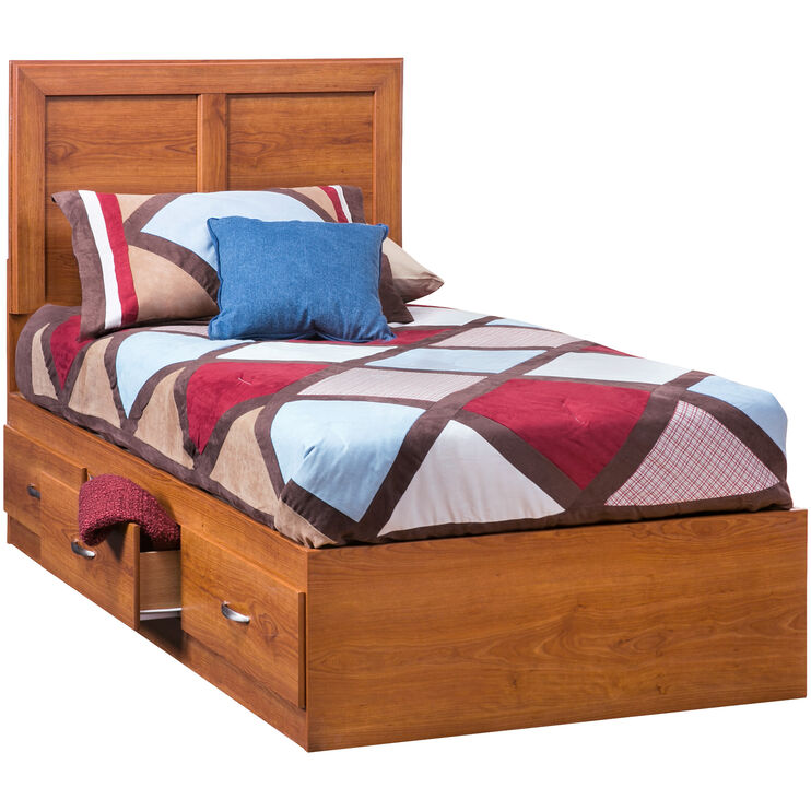 Jacob Oak Twin Panel Capt Bed