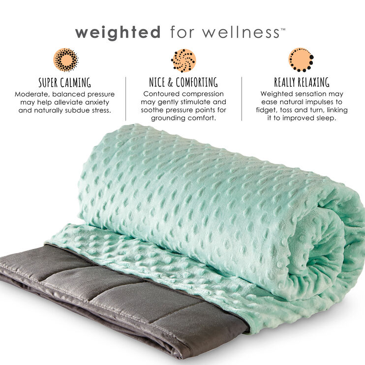Zensory Gray and Green 7 Pound Weighted Blanket