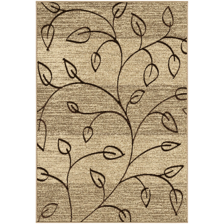 Four Seasons Kingwood Tan Leaves 5x8 Rug
