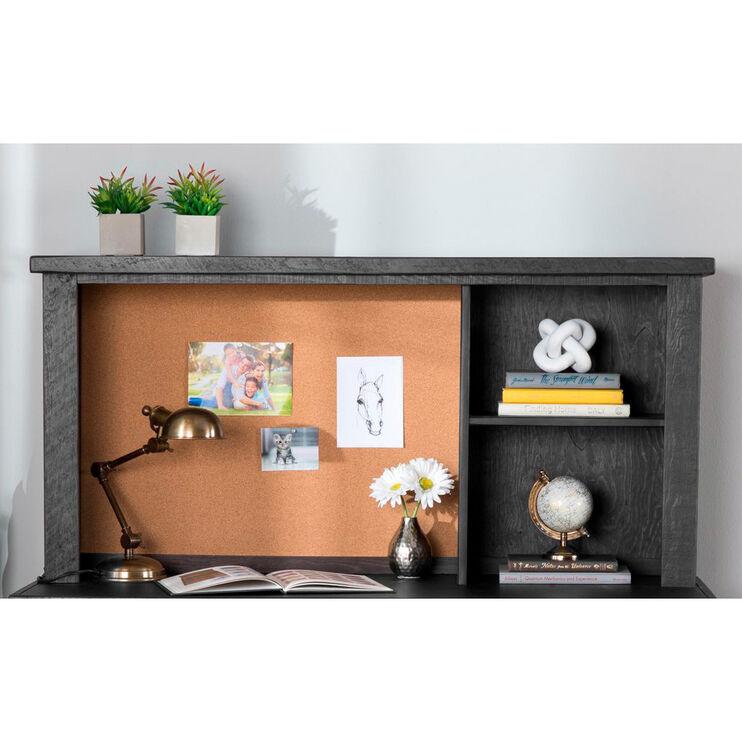 Vista Charcoal Gray Desk Hutch