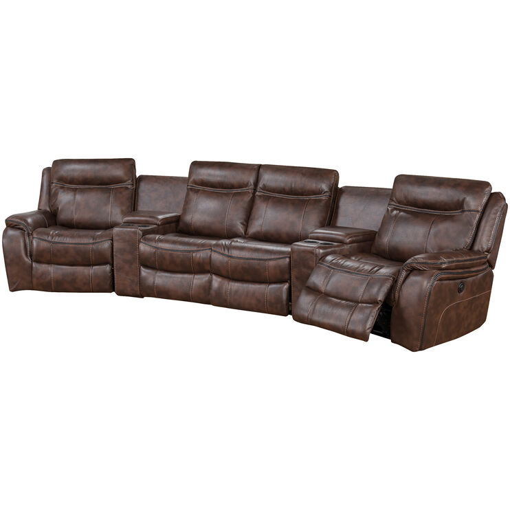 Apex Tobacco 6 Piece Power Home Theater Sectional
