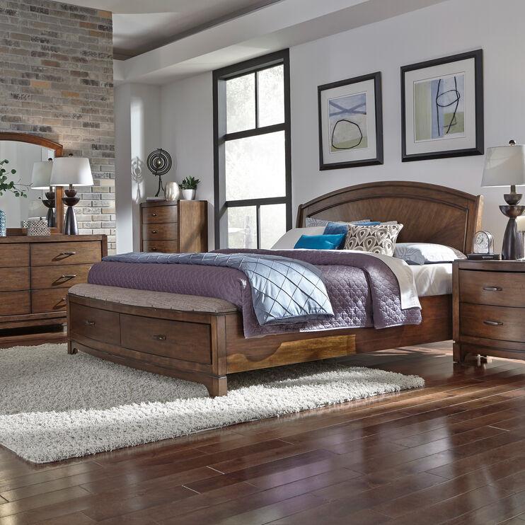 Avalon Brown Queen Storage Bed