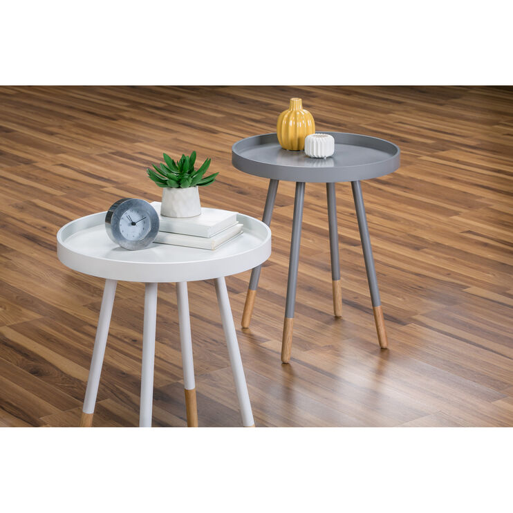 Rubi Gray Round Accent Table