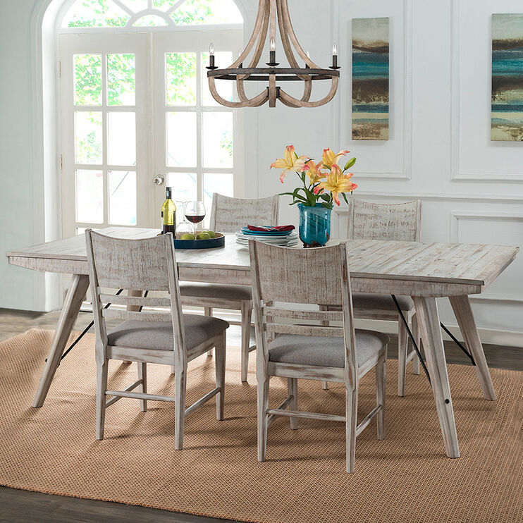 Modern Rustic 5 Piece Dining Set, Rustic Dining Room Furniture