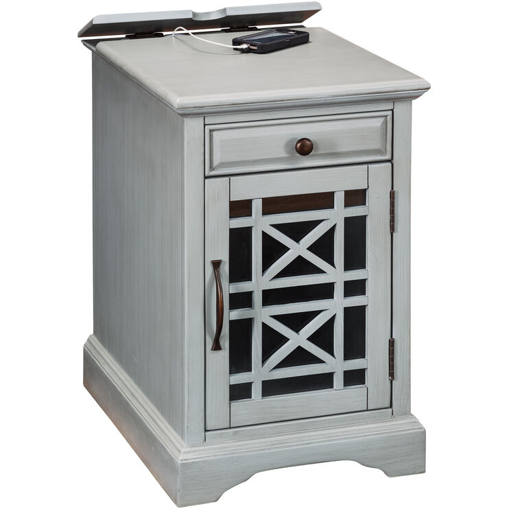 Chilton Antique Gray Power Chairside Table