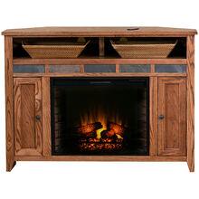 Evanston Antique Oak 56 Inch Corner Fireplace Console