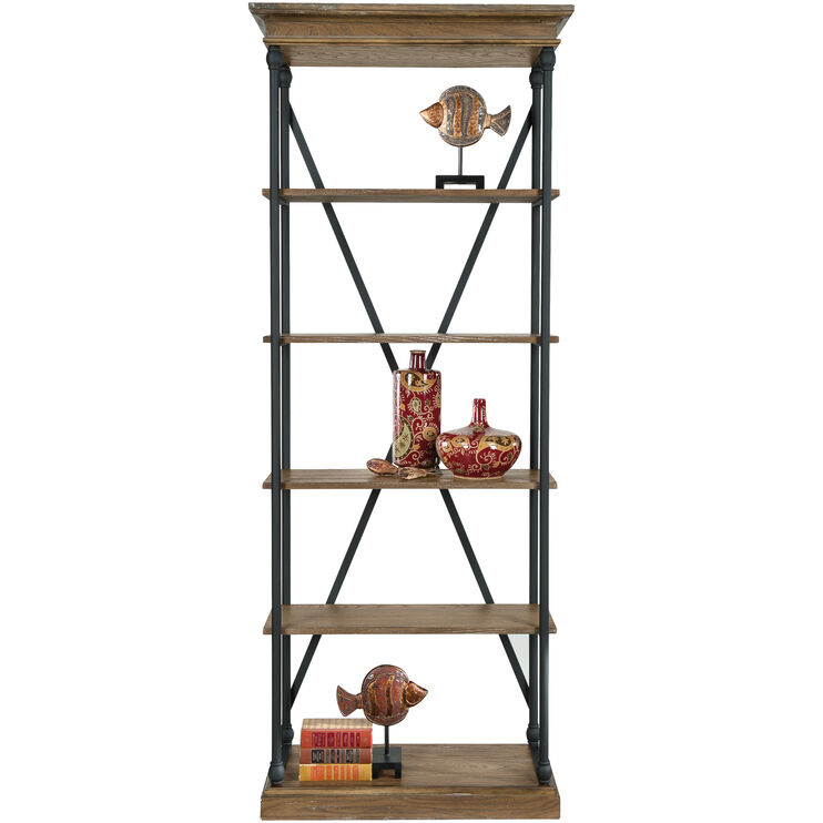 Auburn 33x84 Inch Brown Bookcase