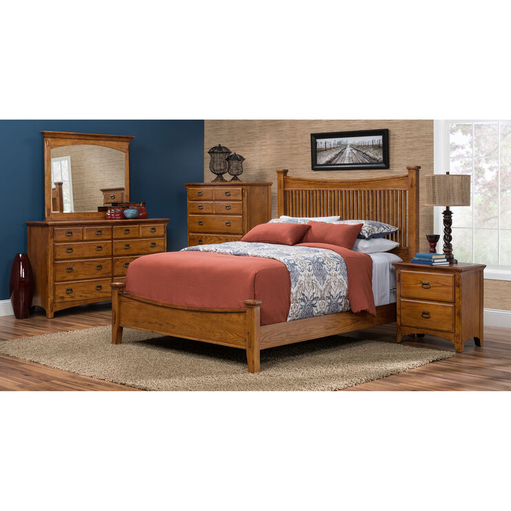 Lodge Park Oak Queen Bed