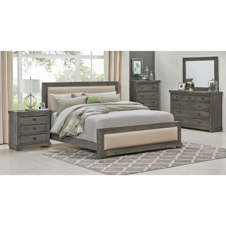 Willow Distressed Gray Queen Upholstered Bed