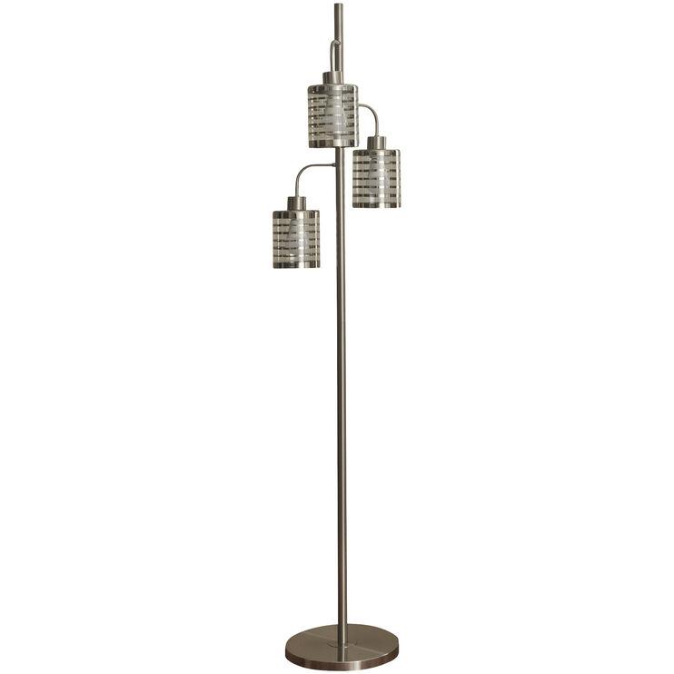 Whitney Brushed Steel Three Head Floor Lamp