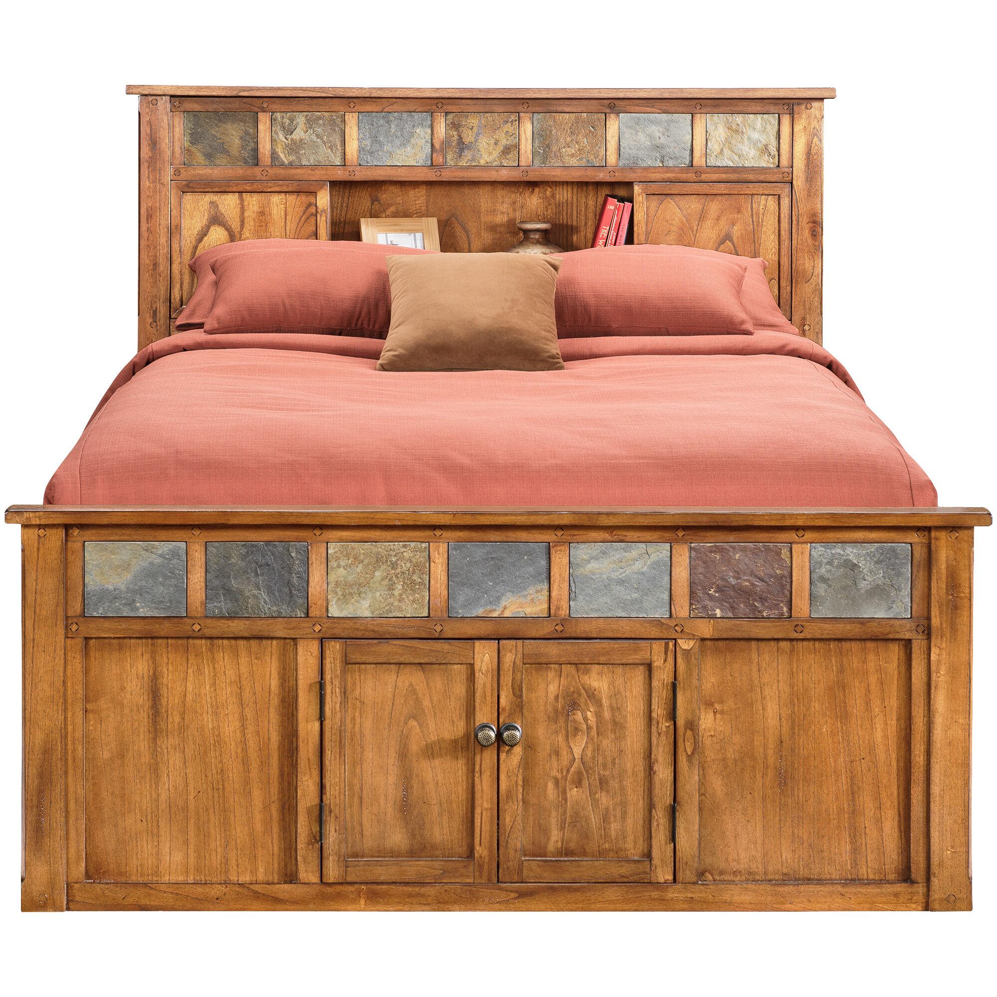 Slumberland Furniture | Sante Fe Rstc Oak Kg Bookcase Capt Bed