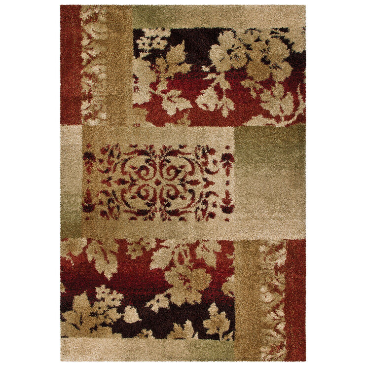 Wild Weave Ogletree Tan and Red Abstract 8 x 11 Rug