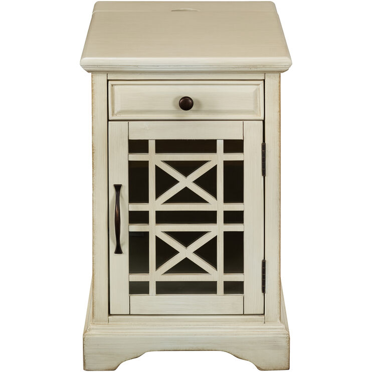 Chilton Antique White Power Chairside Table