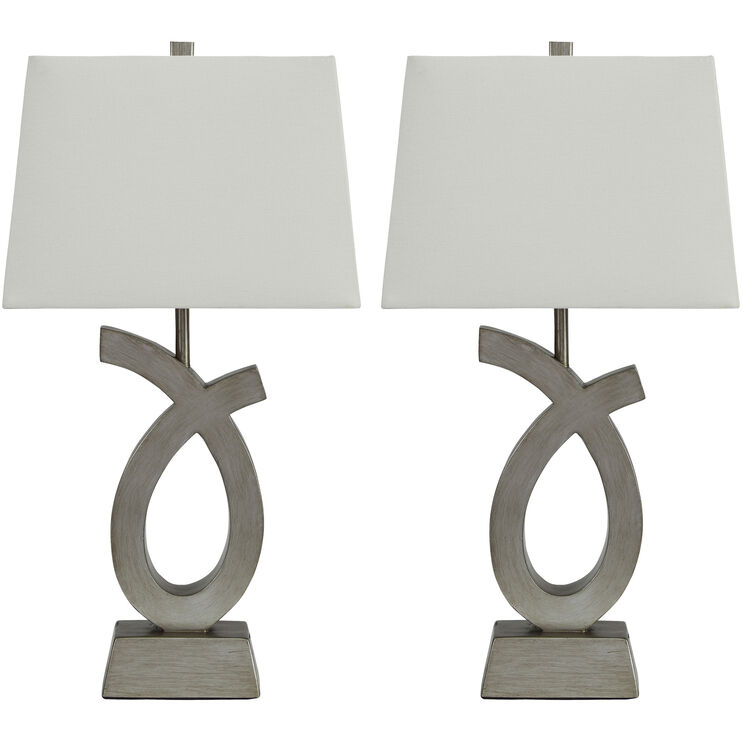 Singleton Gray Set of Two Table Lamps