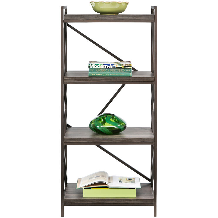 Basel Walnut 4 Shelf Bookcase