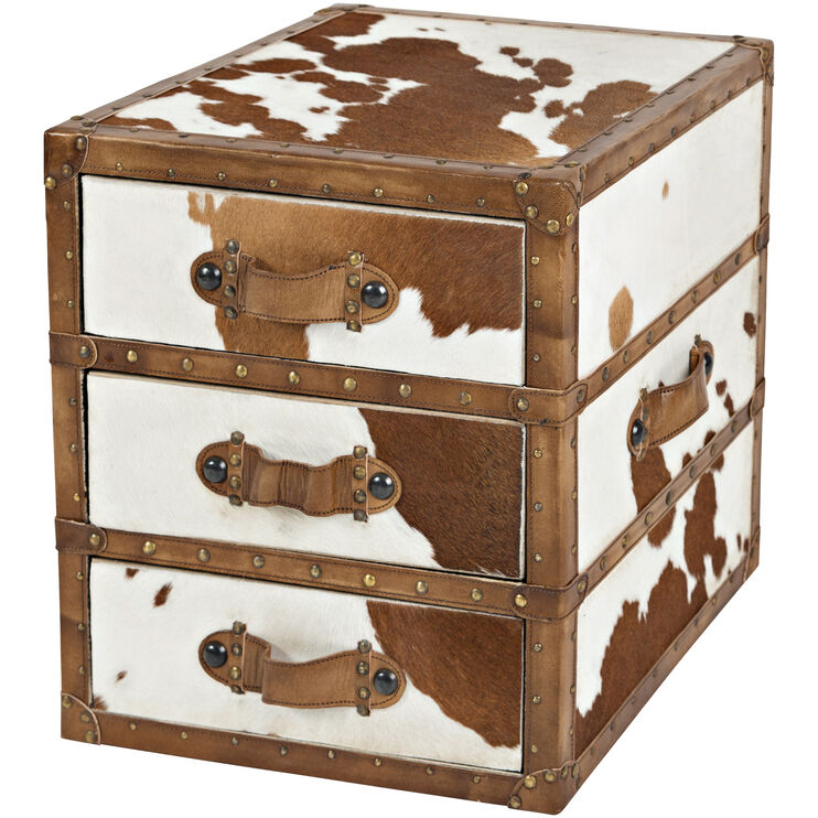 Global Archive 3 Drawer Cowhide Chest