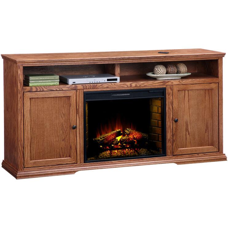 Chambers Golden Oak 72 Inch Hiboy Fireplace Console