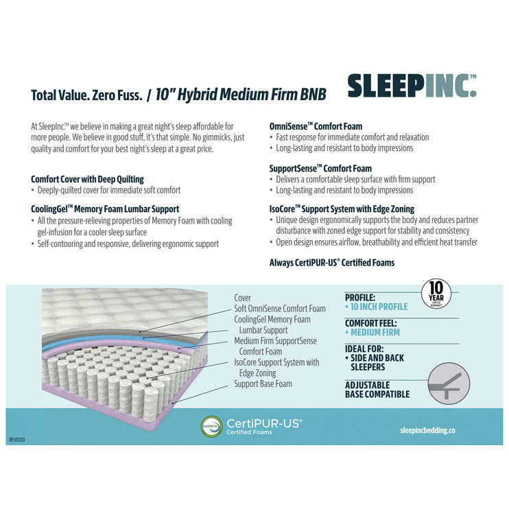 Sleep Inc 10 Inch Medium Firm Twin XL Mattress In A Box