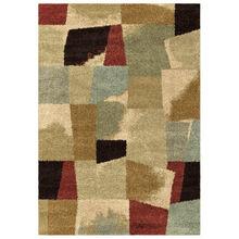 Wild Weave Rampart Bisque Multi Color Blocks 8 x 11 Rug