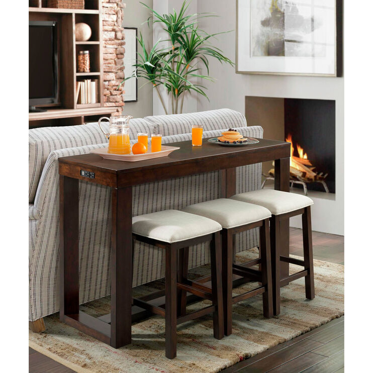Hardy Cherry Bar Table with 3 Stools