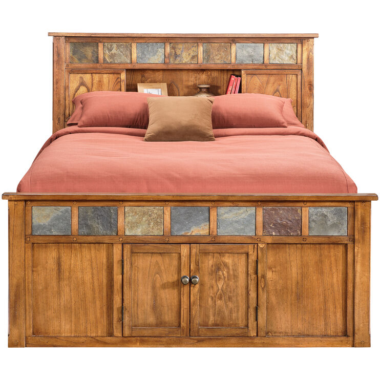 Sante Fe Rustic Oak Queen Captains Bed