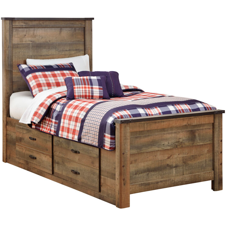 Trinell Brown Twin Storage Panel Bed