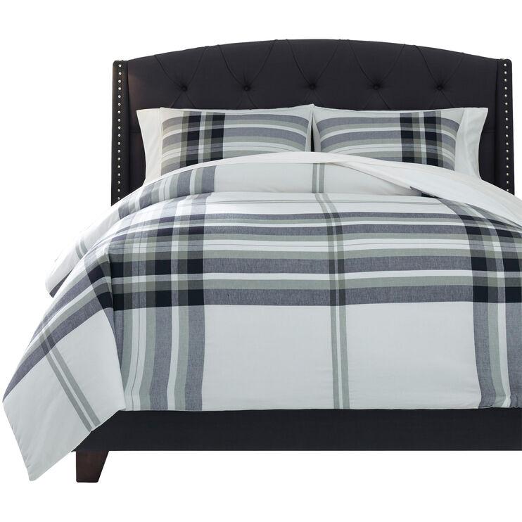 Stayner King Gray Plaid Comforter