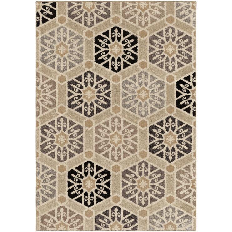 Heritage Partha Silverton Gray Hexagons 8 x 11 Rug