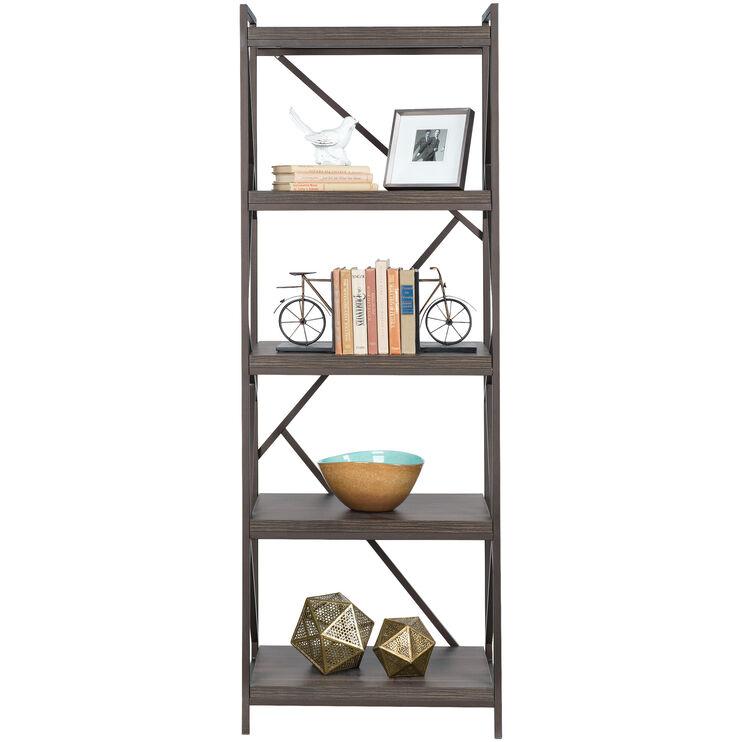 Basel Walnut 5 Shelf Bookcase