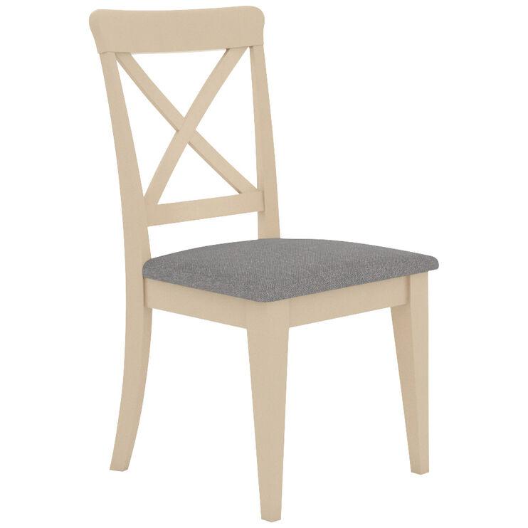 Kirkland Linen County White Upholstered X Back Chair