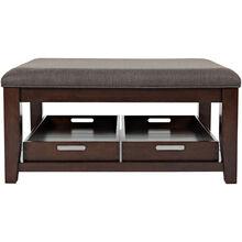 Phalen Dark Brown Upholstered Top Coffee Table