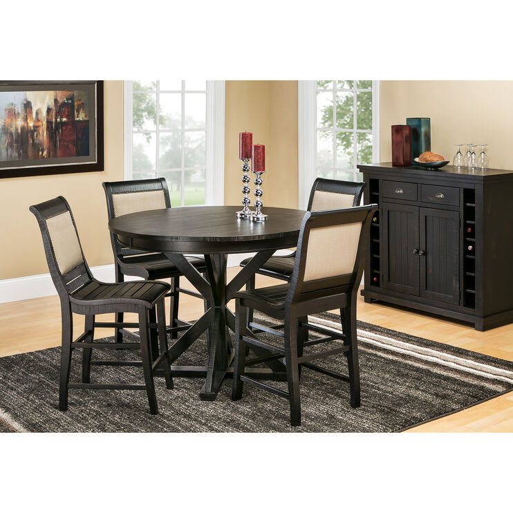 Willow Distressed Black Round Counter Set