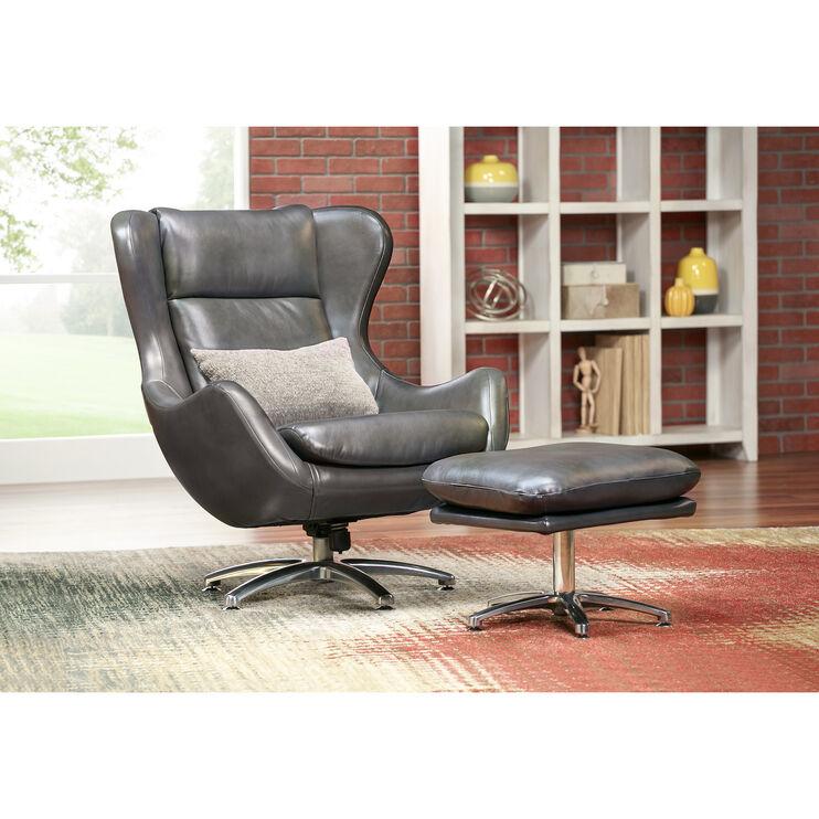 Slumberland Furniture Commander Gray Swivel Lounge Chair