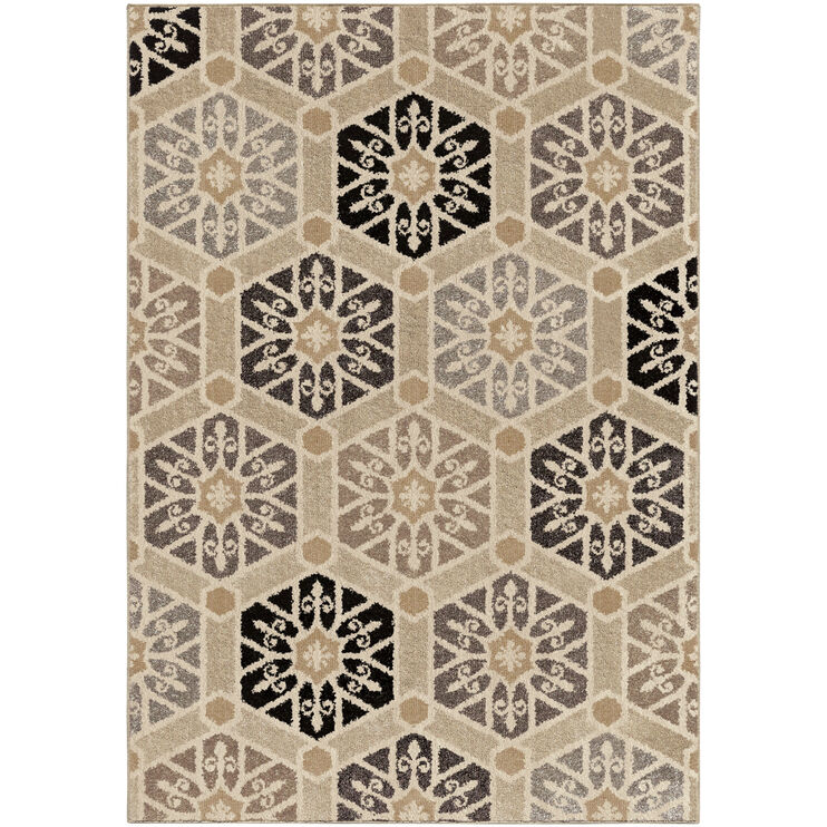 Heritage Partha Silverton Gray Hexagons 5 x 8 Rug