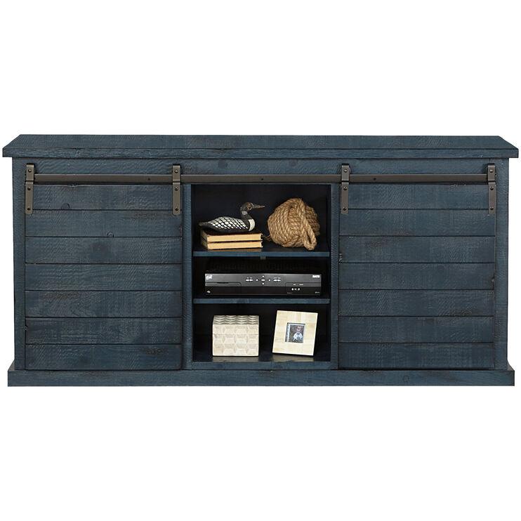 Keller Blue Barn Door Console