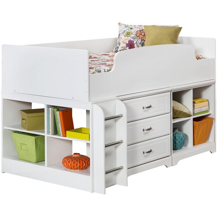 Lulu White Twin Storage Loft Bed